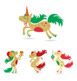 Christmas set of horses horse christmas vector image vector image