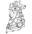 cock head steampunk style symbol of time coloring vector image vector image