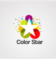 colorful star with bubble logo icon element and vector image vector image