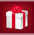 gift with red ribbon and bow present icon vector image vector image