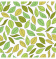 hand drawn green leaves seamless pattern autumn vector image