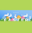 happy easter paper cut card rabbit eggs in spring vector image