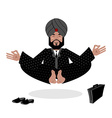 Indian businessman meditating Business yoga by vector image