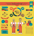industrial workers and infographics elements vector image vector image