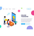 isometric online transfer concept vector image vector image