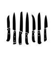 kitchen knives black silhouettes vector image