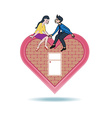 Lover express love on heart shape home vector image vector image