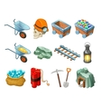 Mining Game Isometric Elements Collection vector image