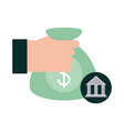 mobile banking hand with money bag investment vector image