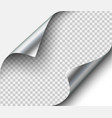 page curl with shadow on blank sheet steel metal vector image vector image