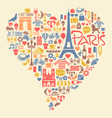 Paris France Icons Landmarks and attractions vector image