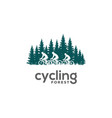 pine forest ride bike cycle bicycle silhouette vector image vector image
