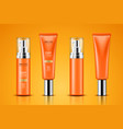 realistic tube with sunscreen cream vector image vector image
