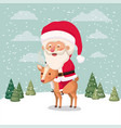 santa claus character with reindeer in snowscape vector image vector image