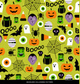 seamless pattern of various halloween icons vector image vector image