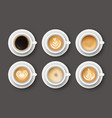 set with 3d realistic different types coffee vector image