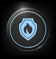 shield with fire sign - protection icon vector image