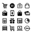 Shopping and Supermarket Services Icons Set vector image vector image