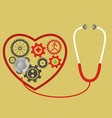 stethoscope and heart consists of gears pulse vector image vector image