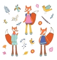 Stylish fox characters set vector image vector image