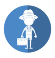 tourist man photographic camera and suitcase vector image vector image