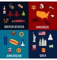 USA travel and american flat icons vector image vector image