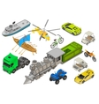 Vehicles set isometric flat vector image vector image