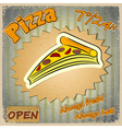 Vintage grunge card with a pizza menu vector image vector image