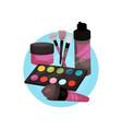 visagiste profession icon makeup tools cartoon vector image