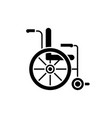 wheelchair black icon sign on isolated vector image