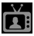white halftone tv speaker icon vector image
