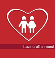 White heart with couple icon and shadow concept vector image vector image