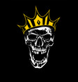 white skull in gold crown on black background vector image vector image