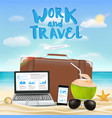work and travel with laptop smartphone suitcase vector image
