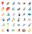 work calendar icons set isometric style vector image vector image