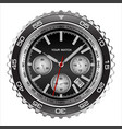 wristwatch face black steel chronograph luxury vector image vector image