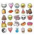 stickers pins patches collection in cartoon vector image