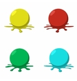 4 paintball balls with splashes