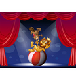 A lion and a beaver performing at the stage vector | Price: 1 Credit (USD $1)