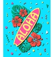 aloha - summer background in style 80s vector image