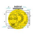 artificial intelligence computer robot gear vector image vector image