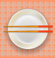 asian traditional wood chopsticks and plate vector image