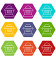 beekeeper icons set 9 vector image vector image