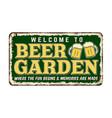 beer garden vintage rusty metal sign vector image vector image