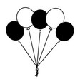black and white balloons decoration ornament party vector image vector image