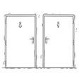 cartoon of public toilet or restroom door with vector image