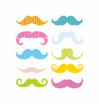color mustaches vector image vector image