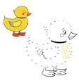 Connect the dots game duck vector image vector image