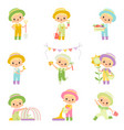 cute boy in overalls and rubber boots engaged in vector image vector image