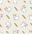 cute bunny rabbit with carrot seamless background vector image vector image